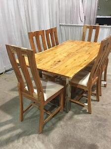 Live edge dining table with 6 chairs