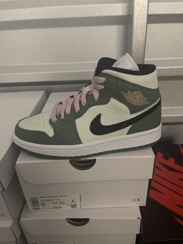 NEW Nike Air Jordan 1 Mid Dutch Green Pink White Sizes 6W-11W CZ0774-300
