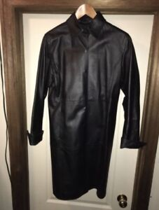 Full length black leather coat beautiful condition ladies small