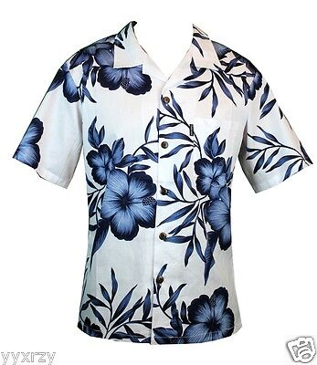 - Men Aloha Shirt Cruise Tropical Luau Beach Hawaiian Party White Navy Hibiscus