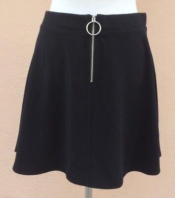 Avec Les Filles Sporty A-Line Mini Skirt Flare Above Knee Black M NWT $48