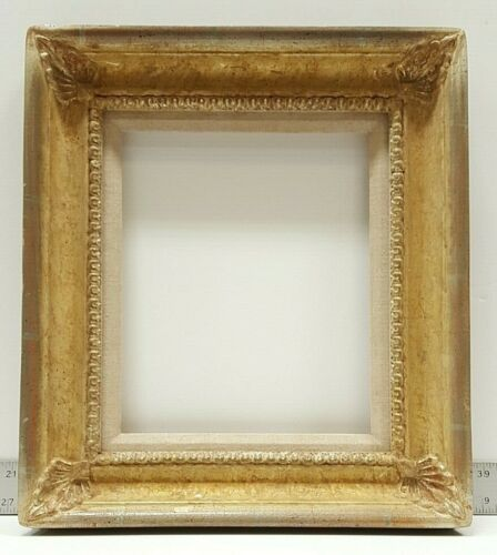 Gold and Silver Leaf Wood Frame with Finished Corners and Natural Linen Liner