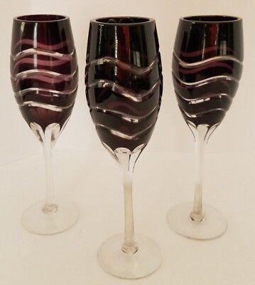Amethyst Purple Cut Crystal Champagne Flutes Swirl Design Unique Lot of 3 (Unique Champagne Flutes)