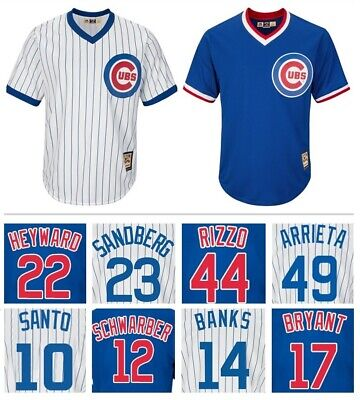 Chicago Cubs Cooperstown Collection Pullover CoolBase Replica Jersey White/Royal Chicago Cubs Cooperstown Collection