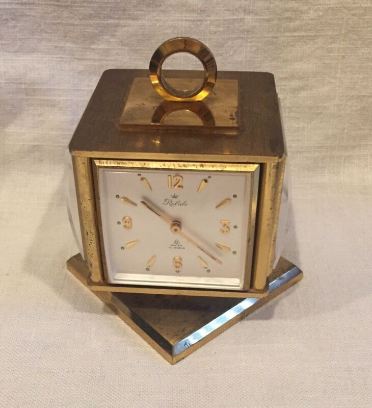 Rare VINTAGE RELIDE 8 DAY DESK CLOCK / WEATHER STATION ~15 Jewels, Swiss, Brass