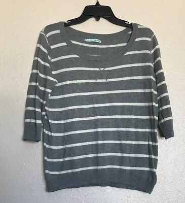 Maurices Womens 3/4 Sleeve Sweater Gray White Size: XL