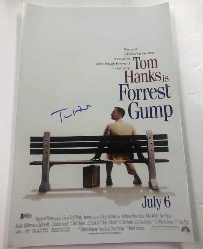TOM HANKS SIGNED FORREST GUMP 12X18 PHOTO AUTHENTIC AUTOGRAPH BECKETT COA