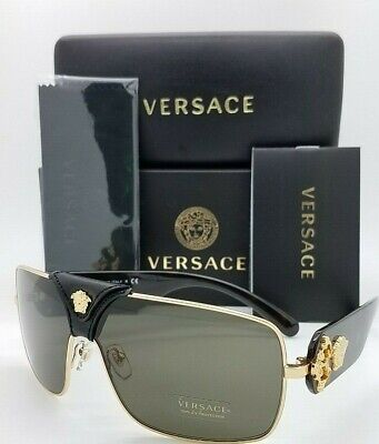NEW Versace sunglasses BAROQUE VE2207Q 1002/3 Black Gold Brown GENUINE (Real Versace Sunglasses)