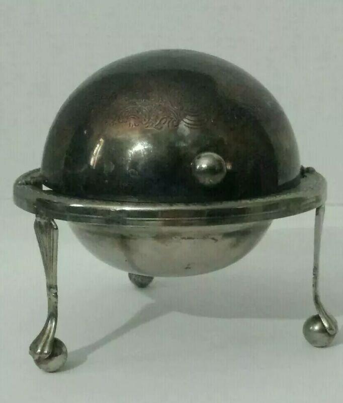 Vintage Sheffield Silverplate Globe Butter Dish Bowl Tray Ashtray England