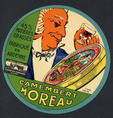 Original French Camembert Cheese Label, Man with Wine and Cheese, 252