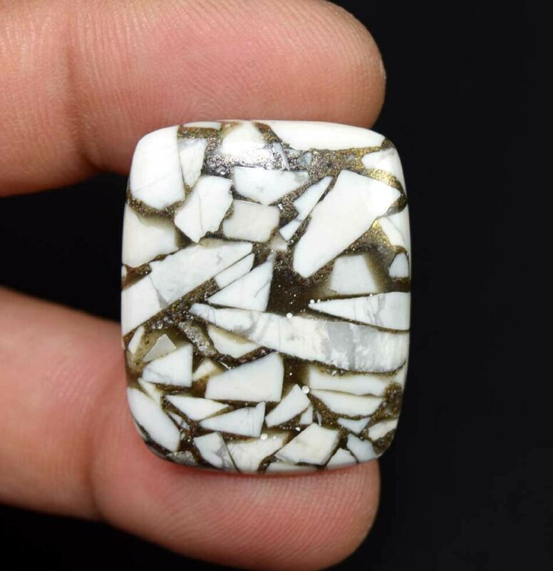 31.00 Cts. Reconstructed Copper White Howlite Cushion Cabochon Loose Gemstone