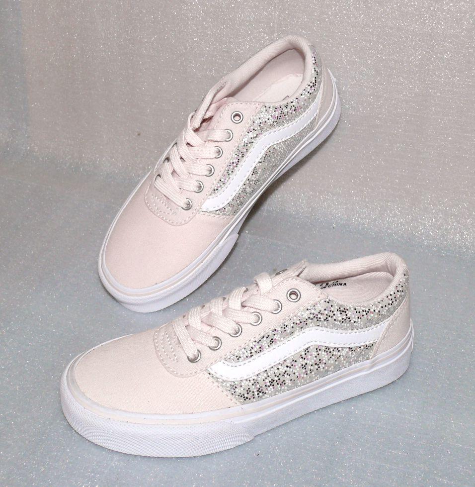Vans Maddie Z'S Canvas Kinder Schuhe Freizeit Sneaker EU 31 UK13 Glitter Pink Wh