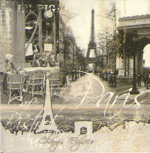 4-x-Single-Luxury-Paper-Napkins-for-Decoupage-and-Craft-Vintage-Paris