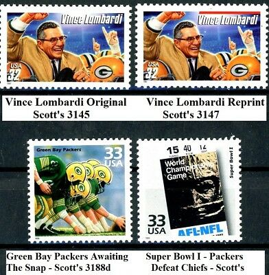 - GREEN BAY PACKERS + Vince Lombardi + Packers Win Super Bowl I : Set 4 MNH Stamps