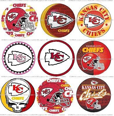 "63 Ct. Kansas City Chiefs Scrapbooking Bottle Cap 1"" Stickers Set - Adhesive"
