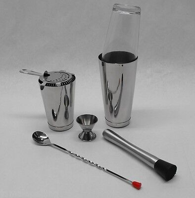 7 Piece Boston Shaker Set Strainer Muddler Spoon Jigger Weighted Tin Bar Kit