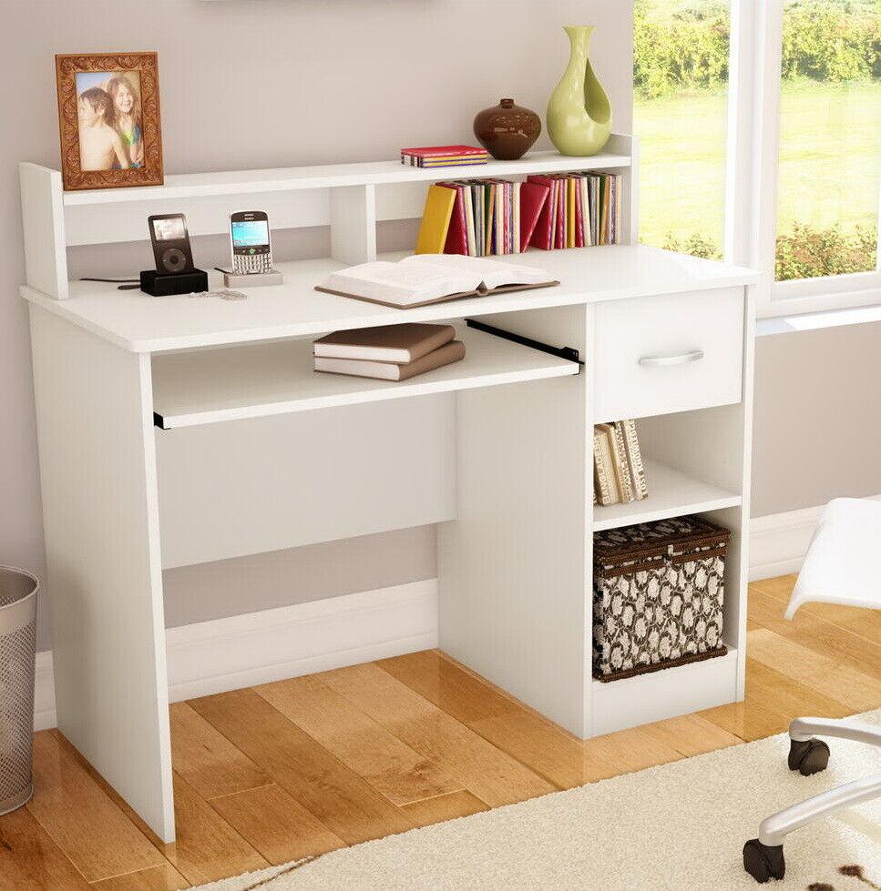 - Small Computer Desk White Student Kids Writing Dorm Hutch Table