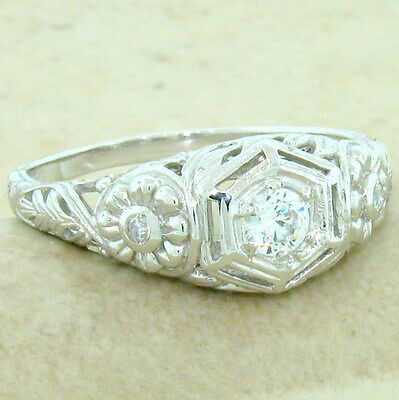 ENGAGEMENT WEDDING ANTIQUE STYLE 925 STERLING SILVER CZ RING SIZE 5,        #839