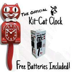 SCARLET RED KIT CAT CLOCK 15.5 Free Battery MADE IN USA New Kit-Cat Klock