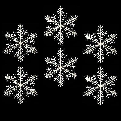 Christmas Decoration Pack of 6 Iridescent White Plastic Snowflakes - White Plastic Snowflakes