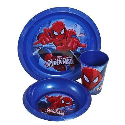 Per Bambini 3 Pezzi Alimentazione Set Piatto Scodella & Becher Marvel Spiderman