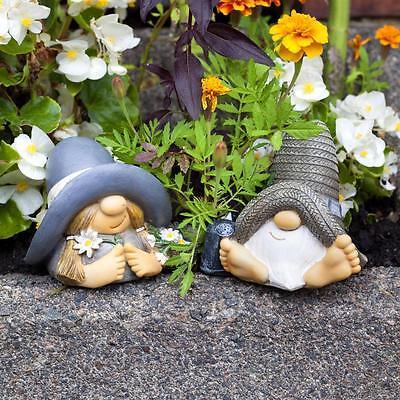 Mr & Mrs Summer Hat Garden Gnome Ornament Figurines Unusual Feature