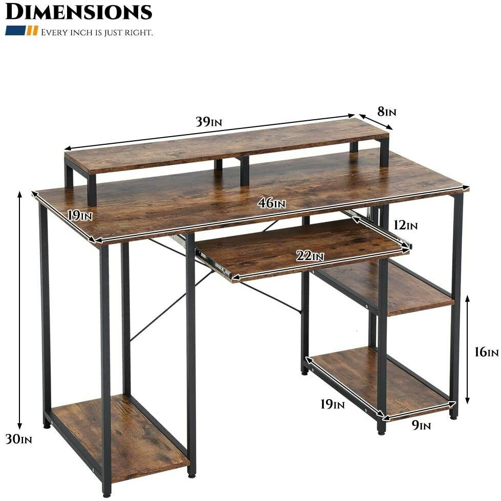 Computer Desk 46″ Gaming Writing Desk with Keyboard Tray/Monitor Stand Shelf Chairs