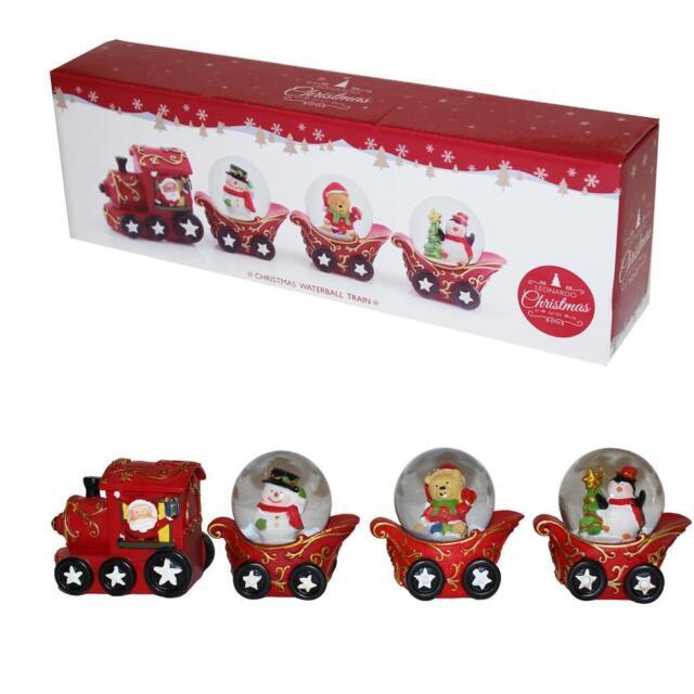 Christmas Decoration Santa 3 Snow Globe Train / Sleigh Ornament