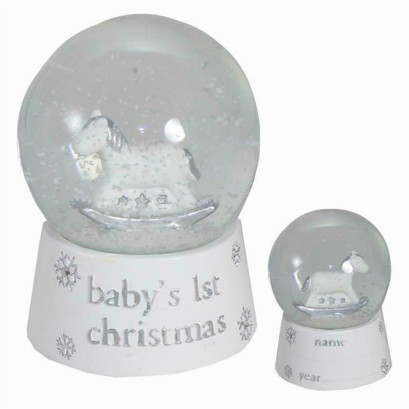 Unisex+Baby%27s+1st+Christmas+Snow+Globe+with+Rocking+Horse+-+White+%26+Silver