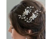 Pearl & Crystal Flower Hair Pin Vine Bridal Accessory Bridesmaid Christmas Gift