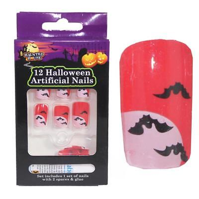 Halloween Fancy Dress 12 Pack Fake Nails - Bat Design