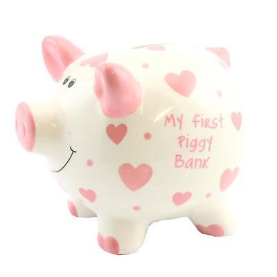'My First Piggy Bank' MINI Money Box White with Hearts 12cm - Pink (My First Piggy Bank Pink)