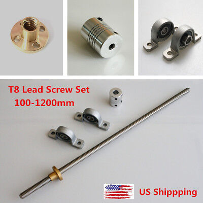 T8 Lead Screw Set Lead 28mm Coupling Mounting Bearing 3d Printer 100 - 1200mm