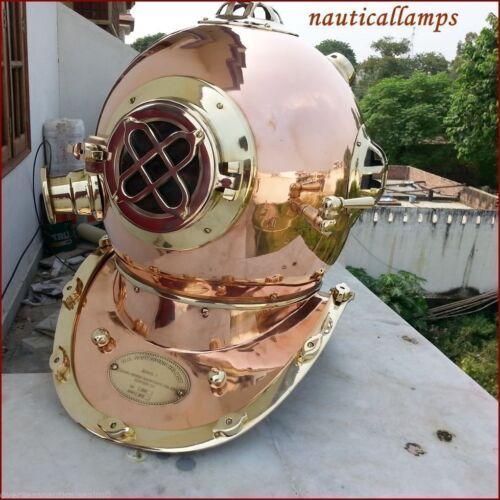 Antique US Navy Aluminum Full Size Diving Helmet Scuba Diver Mark V Replica 18