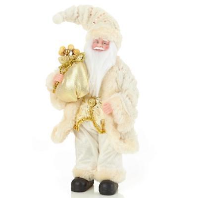 Decoración Navidad 30cm de Pie Decorativo Papá Noel con Saco - Marfil/Dorado