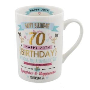Signography Pink & Gold Gift Boxed Range Birthday Mug - 70th Birthday