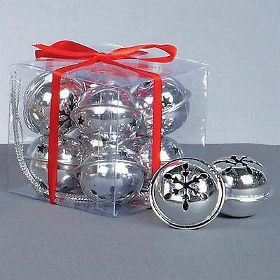 Premier Christmas Decoration 8 Pack Snowflake 40mm Jingle Bell Baubles - Silver