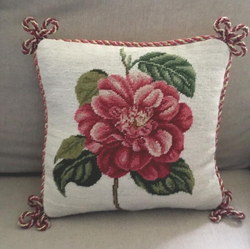 "EUC Needlepoint floral wool pillow 9.5x9.5"", Cream velvet back, Pinks & Greens"