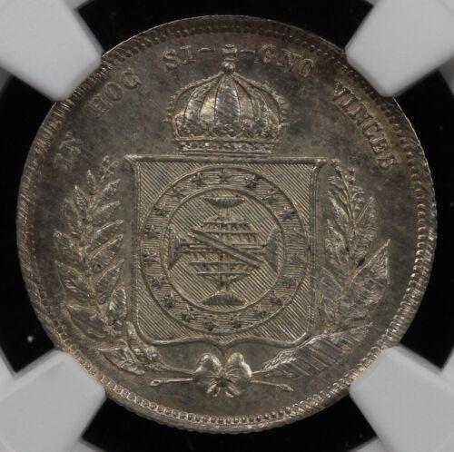 1863 200r Brazil 200 Reis NGC MS 64