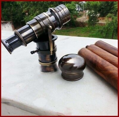 New Wooden Walking Stick Cane With hidden BLACK Telescope On Handle- 38