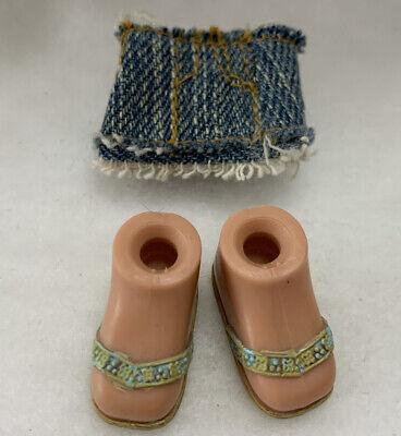 """Bratz Girlz Kidz 7"""" Cloe Doll Blue Jeans Skirt Tan Blue Flip flops Shoes"""