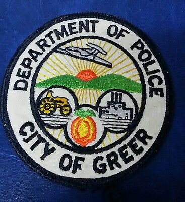 VINTAGE CITY OF GREER, SOUTH CAROLINA POLICE SHOULDER PATCH SC