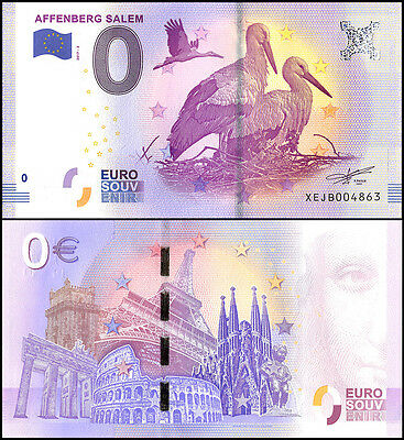 Zero - 0 Euro Europe, 2017 - 2 - 2nd Print, UNC, Bird,Affenberg Salem in Germany