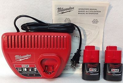 2 New Genuine Milwaukee M12 Li-Ion Batteries 48-11-2401 & 48-59-2401 Charger