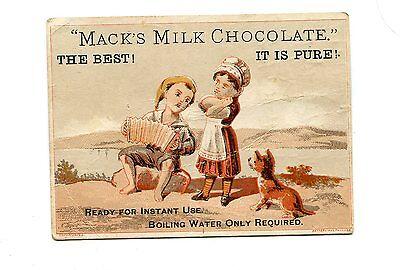 Victorian Trade Card MACK'S MILK CHOCOLATE Boy playing accordian w girl & dog