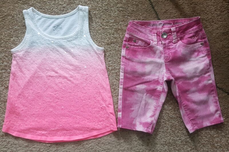 Lot Of 2 Girls Justice Stretch Short Top Pink Size 7