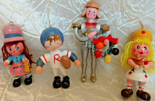 Vintage Wooden Doll Christmas Ornaments Lot of 4