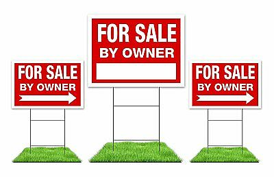For Sale By Owner Sign Kit    3  Double Sided Red Signs With Steel H Stakes
