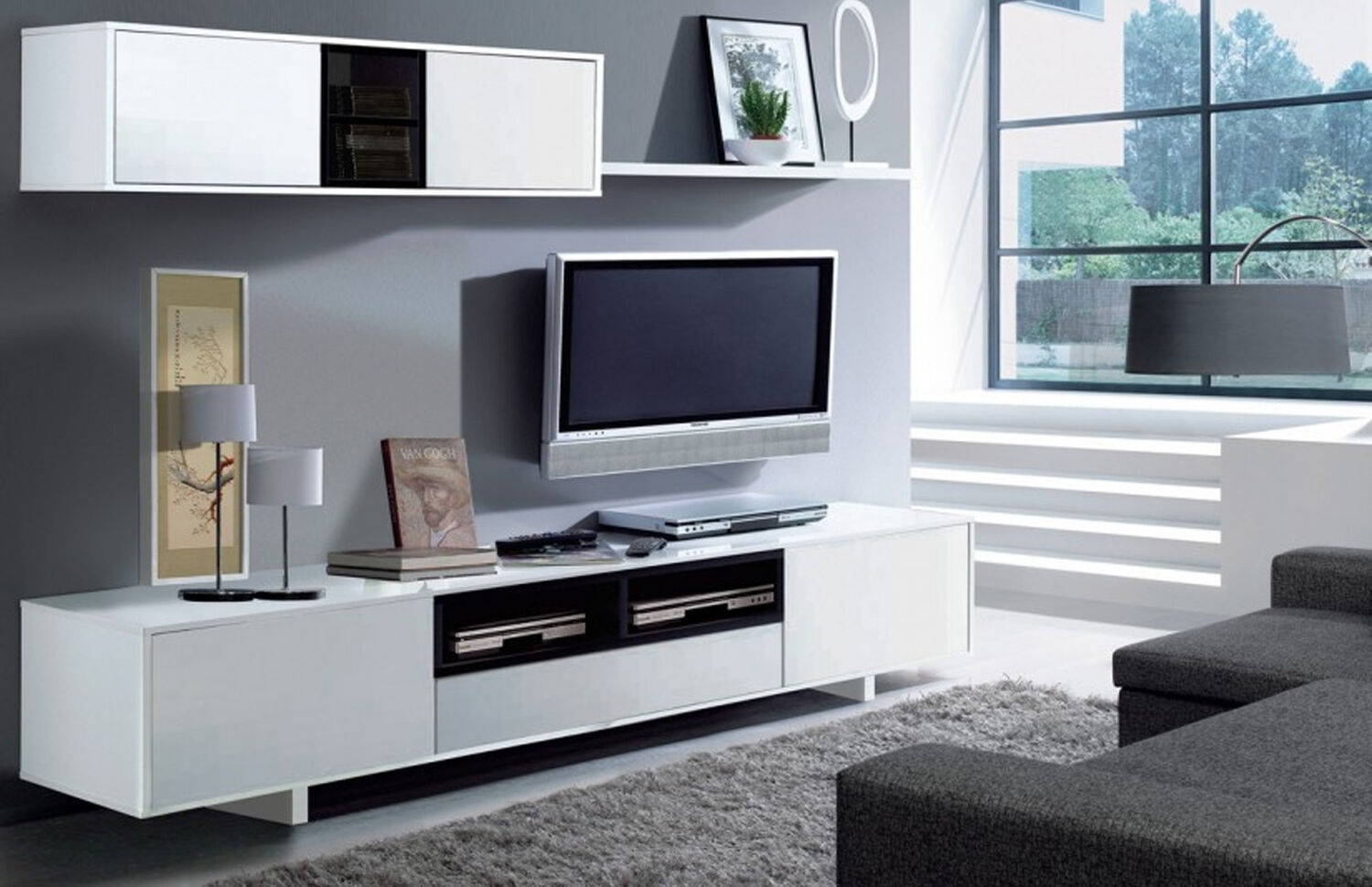 Mueble de comedor salon moderno libreria sal n tv blanco for Mueble salon moderno blanco