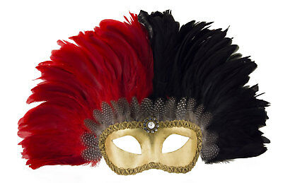 Mask Venetian Colombine Golden in Feathers Red and Black Female Venice 22369